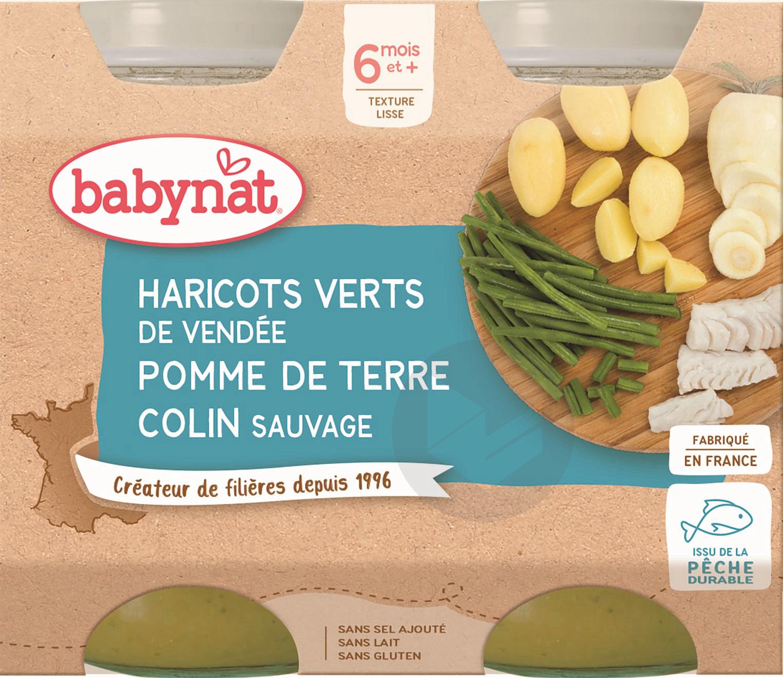 BABYNAT Pot Haricots verts Pomme de terre Colin