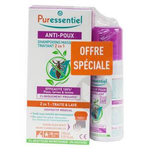 Anti Poux Shampooing Traitant 2 En 1 150 Ml Peigne Spray Repulsif 75 Ml