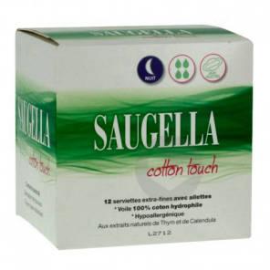 Serviettes Hygieniques Nuit Cotton Touch X 12