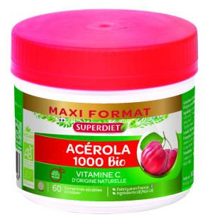 Maxi Pot Acerola 1000 Bio 60 Comprimes A Croquer