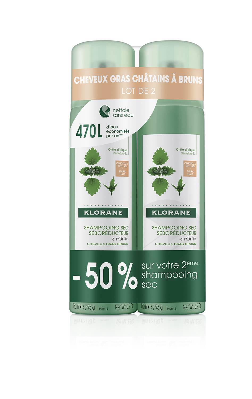 Shampoing secséboréducteur à l'Ortie teinté cheveux châtains à bruns 2x150ml