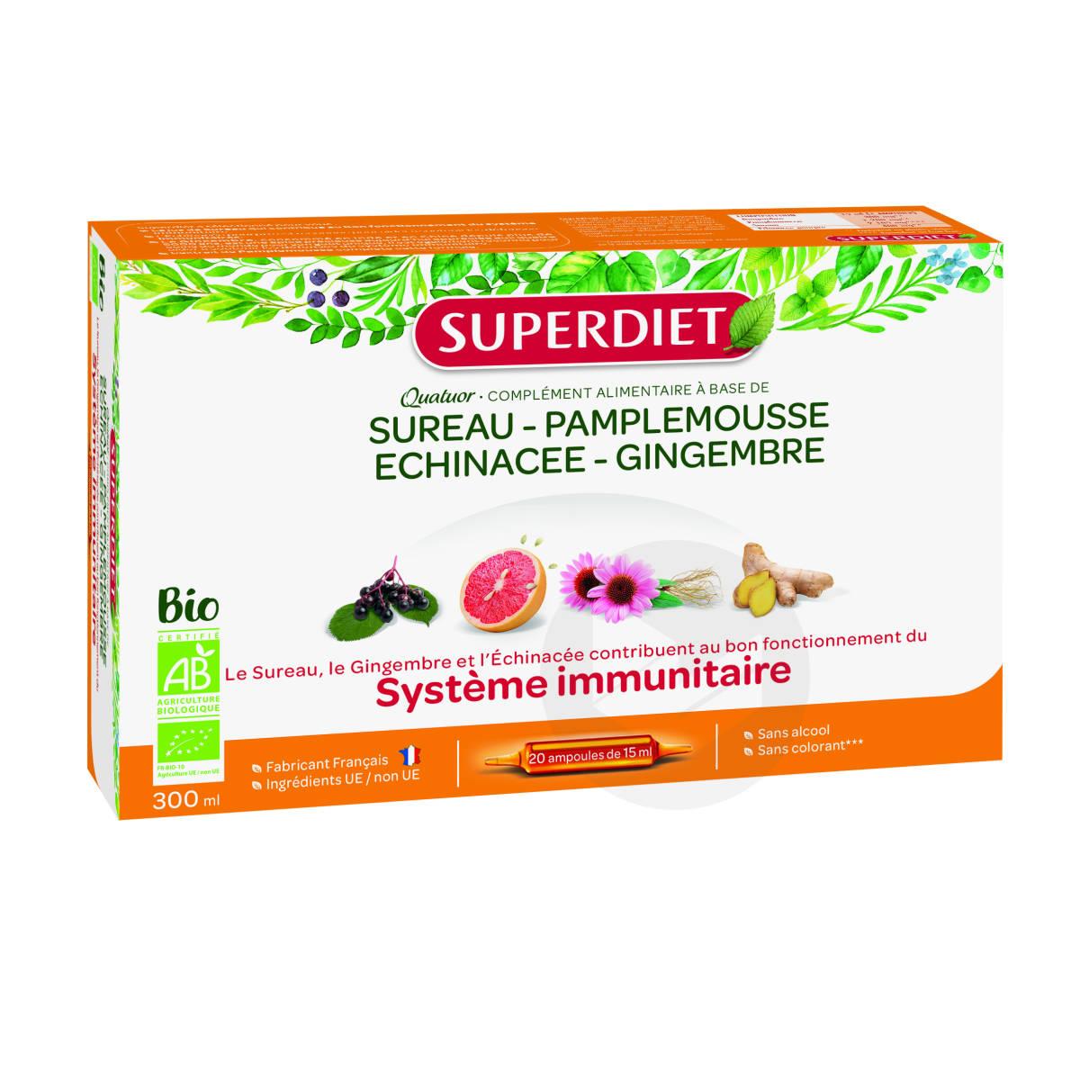 Quatuor Sureau Immunite Bio 20 Ampoules De 15 Ml