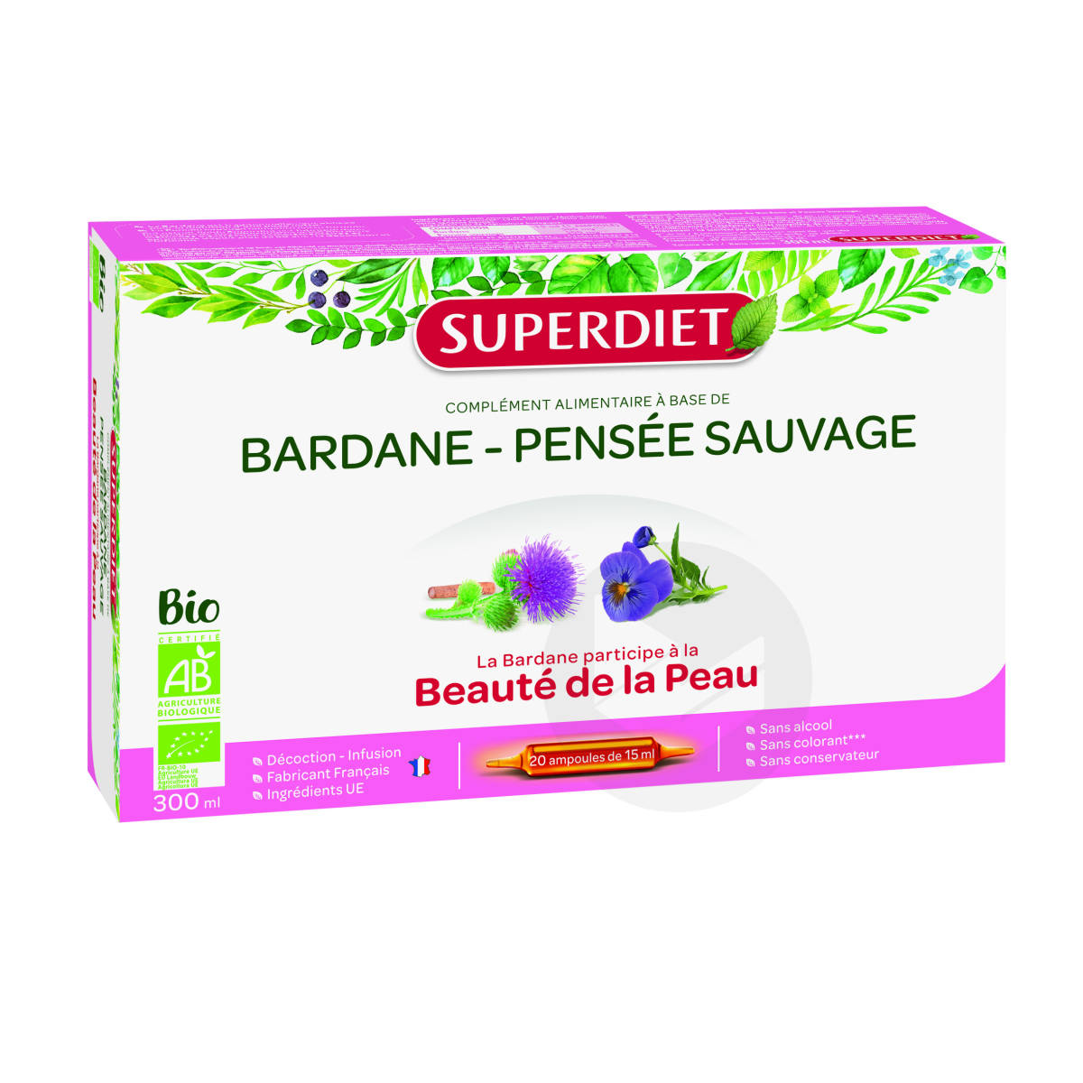 Bardane Pensee Sauvage Bio 20 Ampoules De 15 Ml