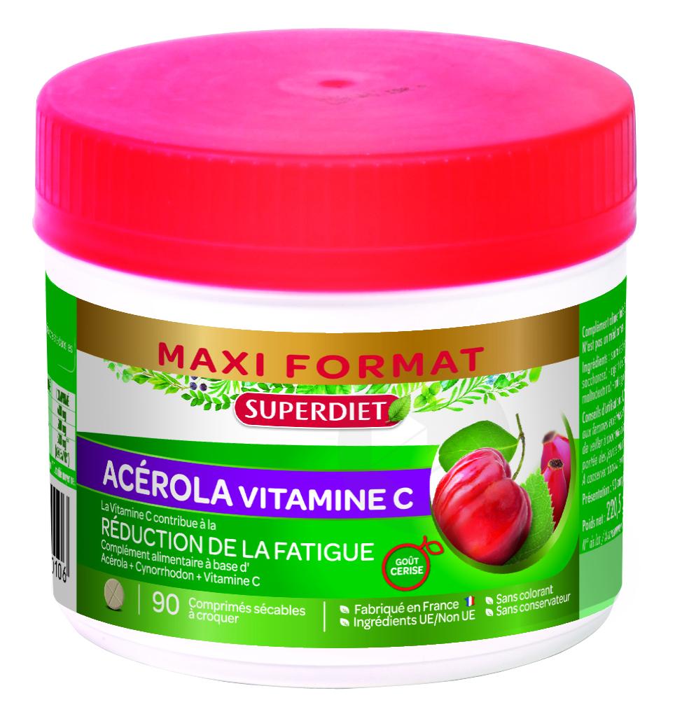 Maxi Pot Acerola Vitamine C 90 Comprimes Secables A Croquer