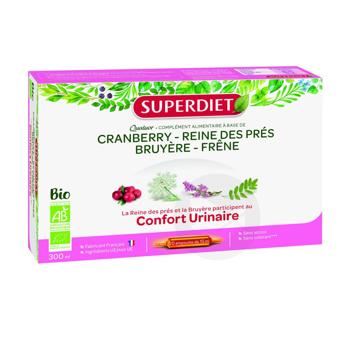 Quatuor Reine Des Pres Confort Urinaire Bio 20 Ampoules De 15 Ml