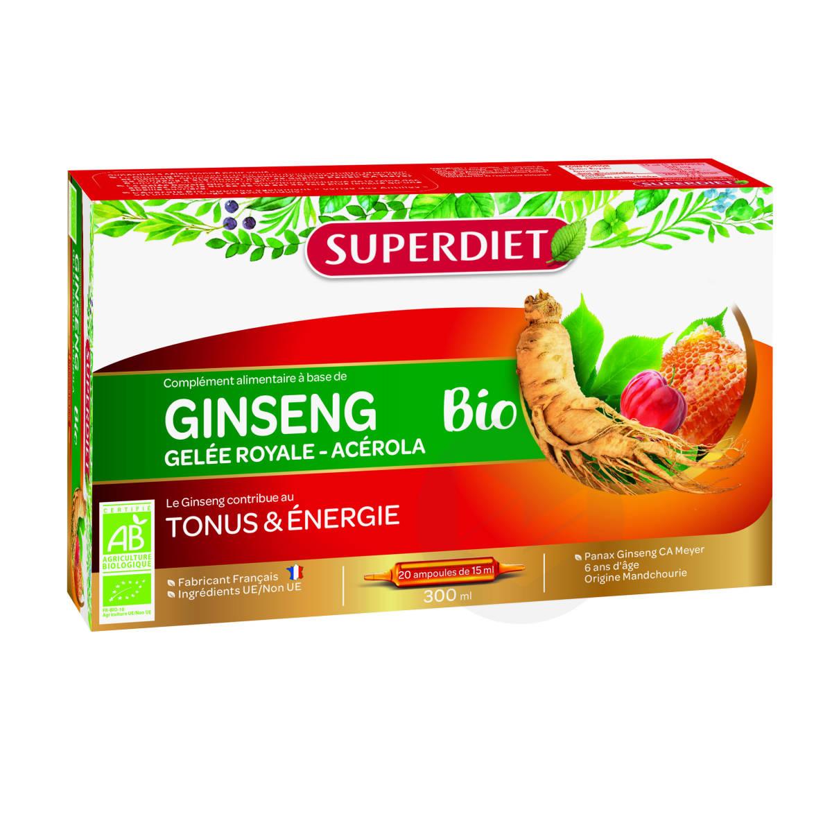 Ginseng Gelée Royale Acerola Bio 20 Ampoules De 15ml