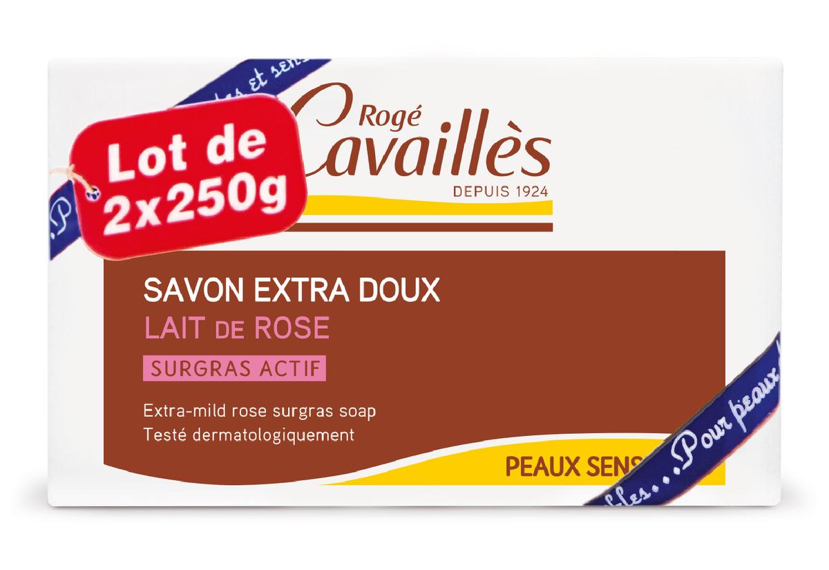 Savon surgras extra-doux lait de rose 2x250g