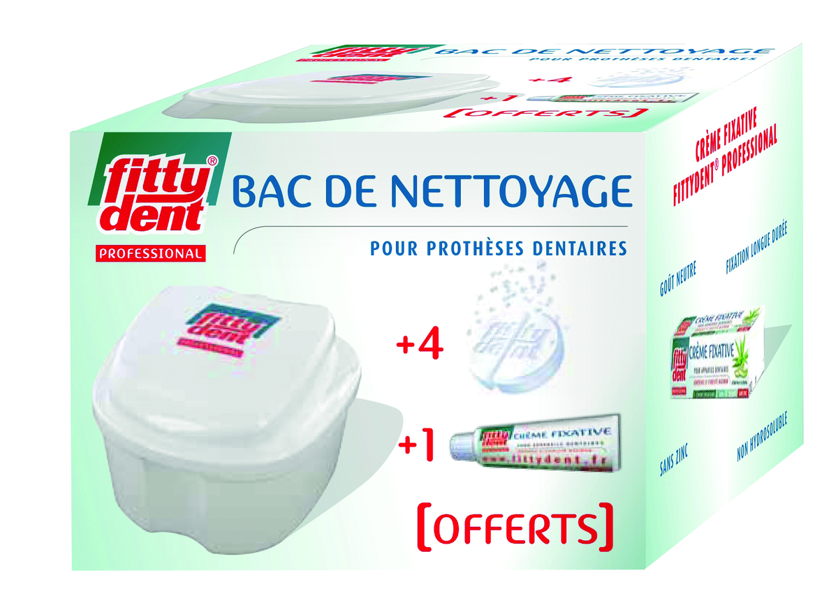 Bac De Nettoyage + Crème fixative 10g + 4 Comprimés nettoyants