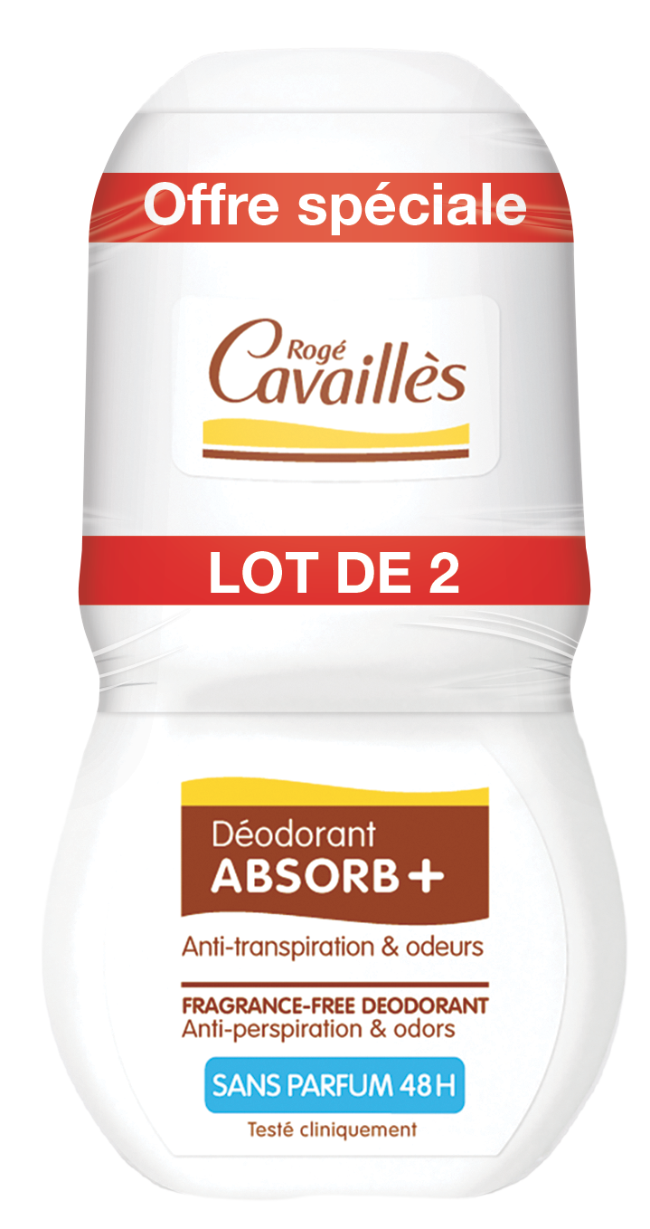 Deodorant Absorb Sans Parfum Roll On 2 X 50 Ml