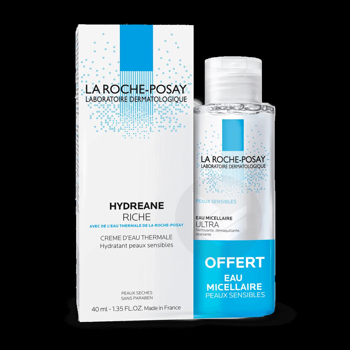 Hydreane Crème hydratante riche + Eau micellaire offerte