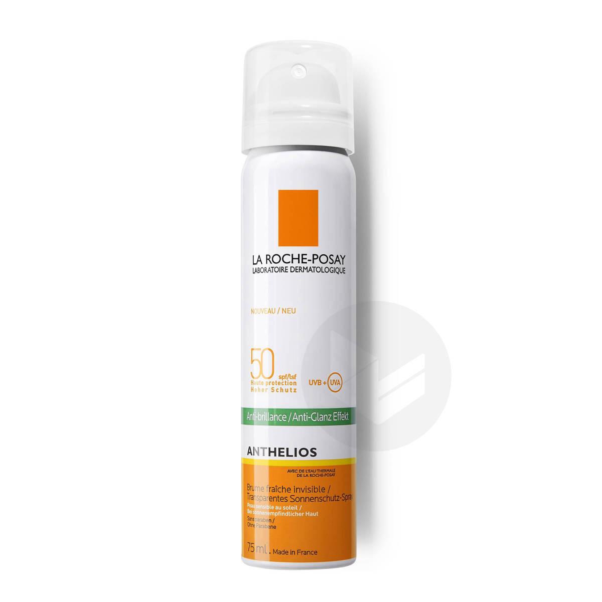 Anthelios Crème Solaire en Brume Fraîche Anti-Brillance Visage SPF50 Aérosol Avec Parfum 75ml