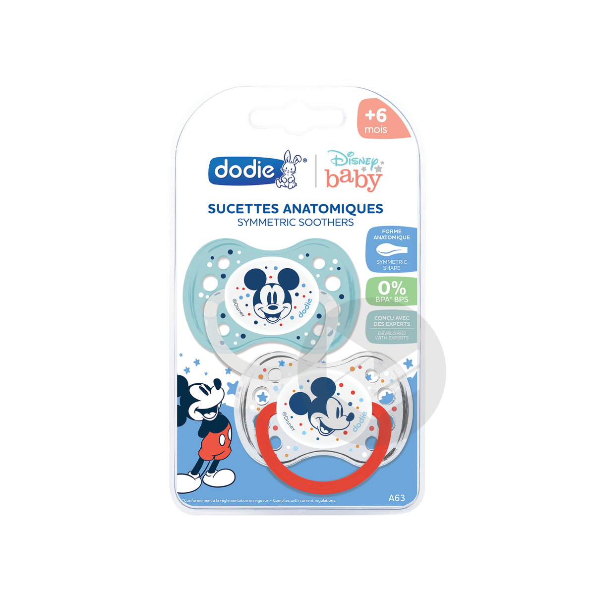 Sucette Anatomique 6 Mois Duo Mickey A 63