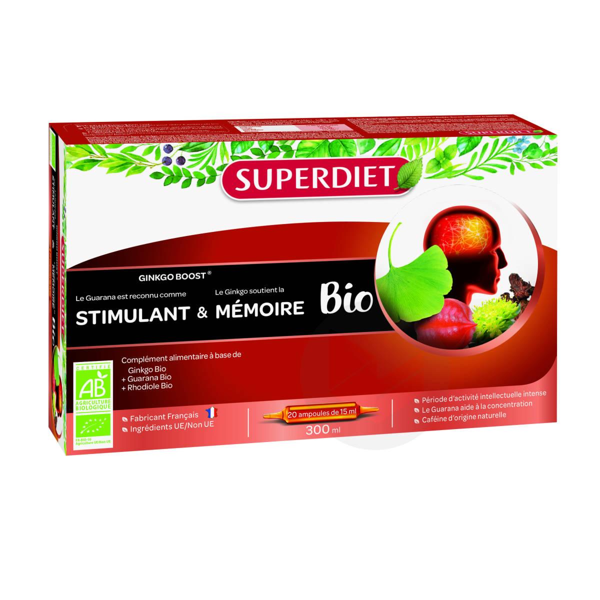 Stimulant Memoire Bio Ginkgo Boost Bio 20 Ampoules De 15 Ml