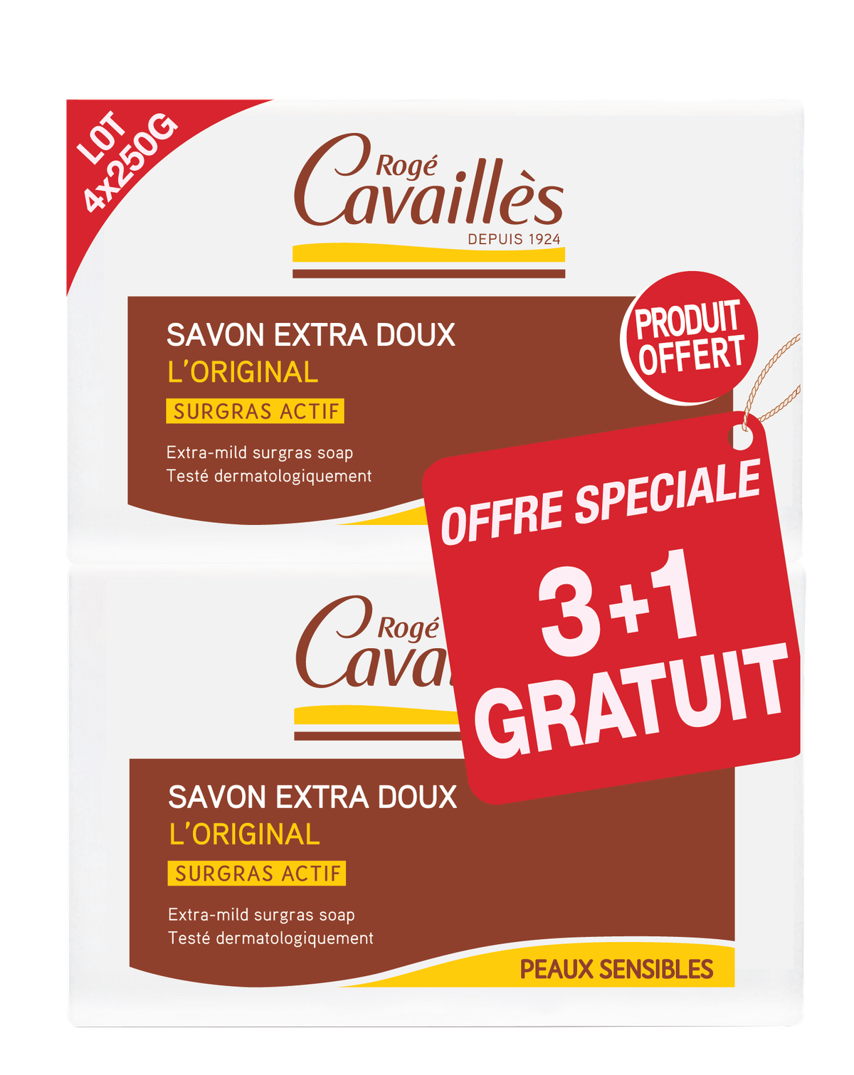 Savon Surgras Extra Doux L Original 3 X 250 G 1 Offert