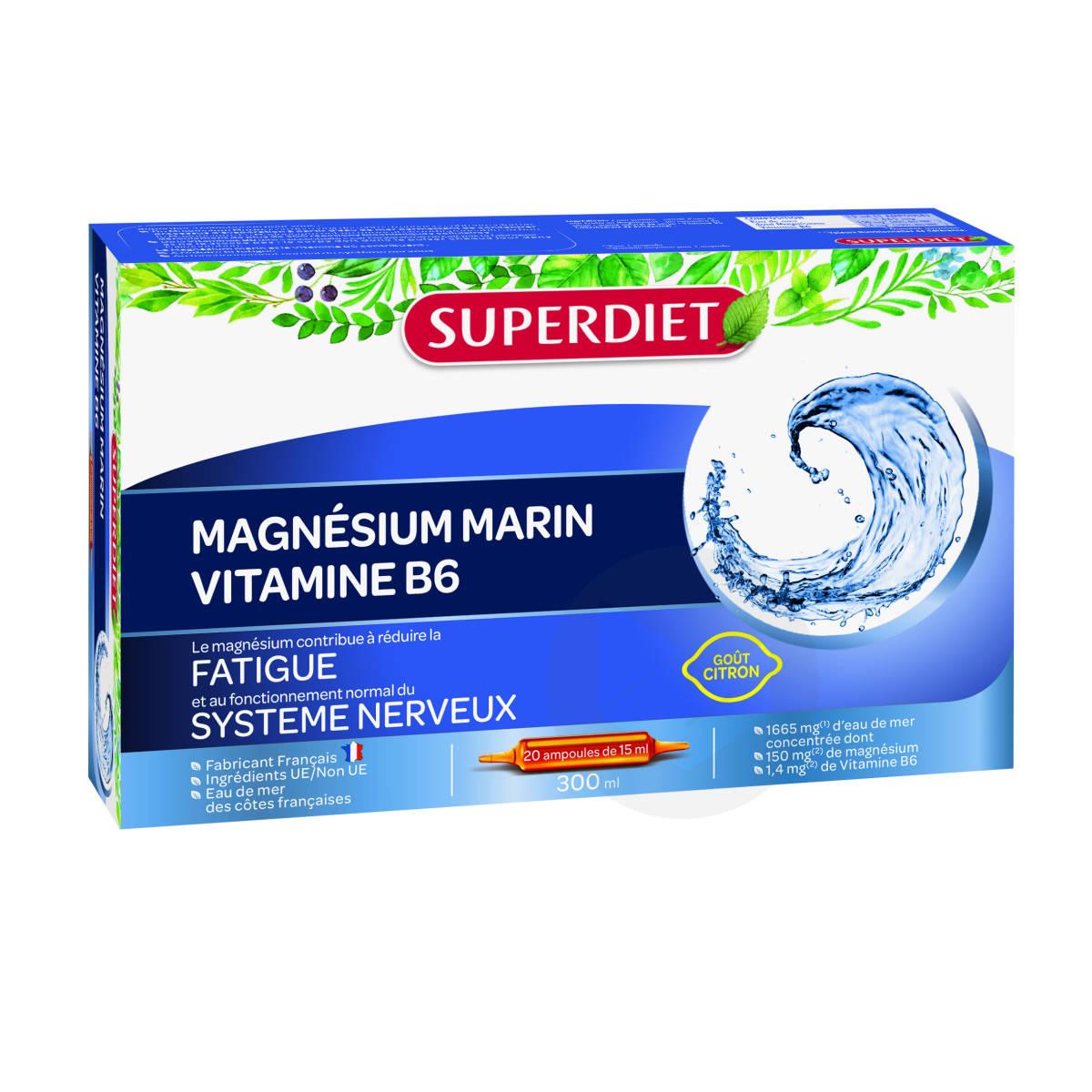Magnesium Marin + Vitamine B6 20 Ampoules De 15ml