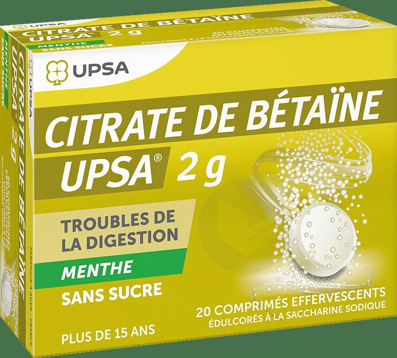 De Betaine Upsa 2 G Comprime Effervescent Sans Sucre Menthe Edulcore A La Saccharine Sodique Tube De 20